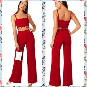 Sophisticated, Sexy 2-pc Jumpsuit in Red